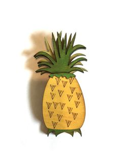 TOBS Wood Pineapple Brooch