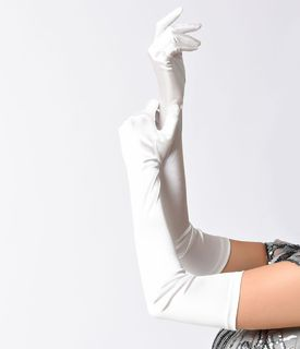 Ivory 23' Satin Opera Gloves