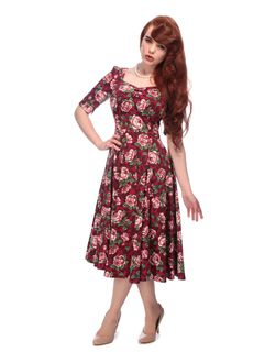 COLLECTIF Dolores Doll Half Sleeve Bloom Dress Burgundy