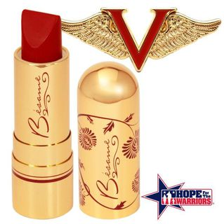 BESAME COSMETICS Victory Red Lipstick and Pin Special Edition 2016