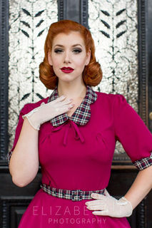 MISS CANDYFLOSS Ella Raspberry 40's Swing Dress
