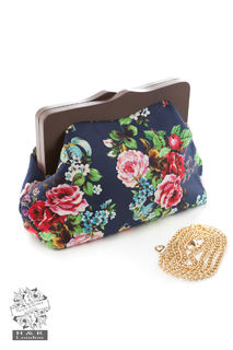 HEARTS & ROSES LONDON Navy Floral Clutch Bag