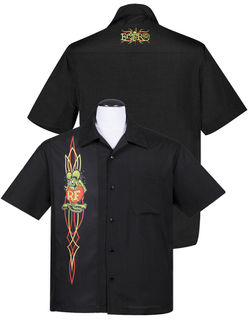 STEADY CLOTHING Rat Fink Pinstripe Panel Button Up