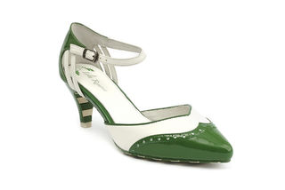 LOLA RAMONA Kitten Wingtip Pump Green