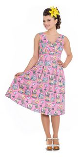 HELL BUNNY Maxine Flamingo Dress Last One Size 12