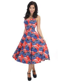 a7187e8563 COLLECTIF Vintage Lilly Paper Parasol Swing Dress Last One Size 16
