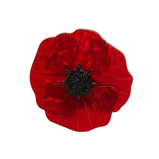 ERSTWILDER Poppy Field Brooch Red