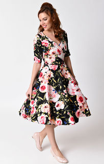 UNIQUE VINTAGE 1950's Black And Pink Floral Delores Swing Dress Last One Size 10