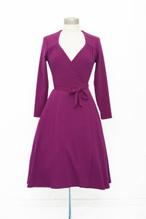 RETROSPEC'D Wrap Dress Berry Crepe Last One Size 12