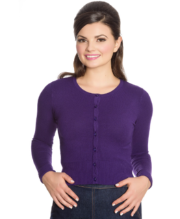 HELL BUNNY Paloma Cardigan Purple Last One Size 22