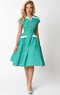 UNIQUE VINTAGE 1950's Green and Ivory Hedda Swing Dress