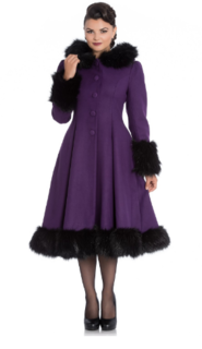 HELL BUNNY Elvira Winter Coat Purple