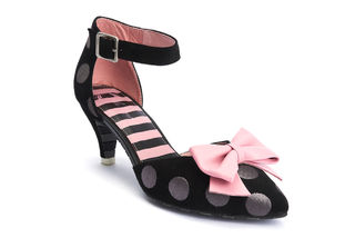 LOLA RAMONA Kitten Black and Grey Suede Polka