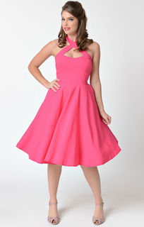 UNIQUE VINTAGE 1950s Style Solid Pink Criss Cross Halter Flare Rita Dress