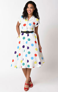 UNIQUE VINTAGE 1950s Style White & Circus Dots Alexis Swing Dress Last One Size 18