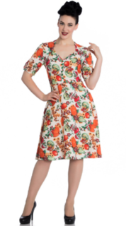 HELL BUNNY Orange Harvest Dress