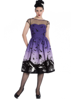 HELL BUNNY Purple Haunt Dress