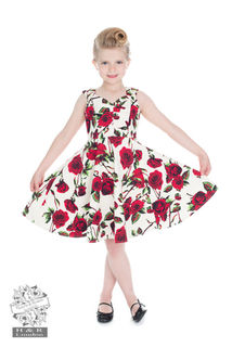 HEARTS & ROSES 50s Ditsy Rose Floral Summer Dress Kids