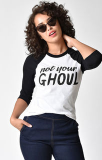 UNIQUE VINTAGE Not Your Ghoul Black and White Raglan Tee