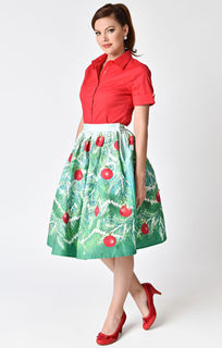 UNIQUE VINTAGE Jingle Bells Evergreen High Waisted Skirt Last One Size 12