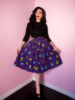 BEN COOPER MONSTER MASK PRINT VIXEN SWING SKIRT - VIXEN BY MICHELINE PITT
