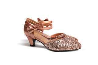 SUGARPOP ChaCha Rose Gold Glitter Kitten Heels