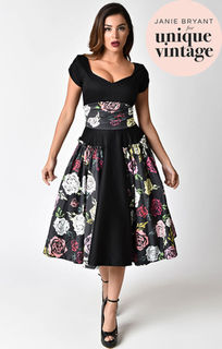 UNIQUE VINTAGE Janie Bryant For Unique Vintage 1950s Black & Multi Rose Birdie Swing Dress