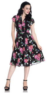 HELL BUNNY Chiffon Bloomsbury 50s Dress  Pink and Black Floral Last One Size 10