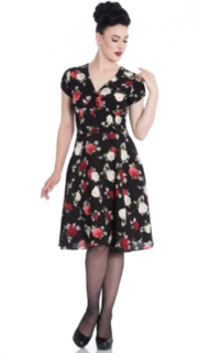 HELL BUNNY Valentina Black and Floral Dress Last One Size 10