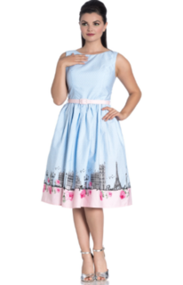 HELL BUNNY Paname 50s White and Light Blue Dress Last One Size 12