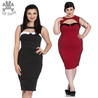 HELL BUNNY Miley Pencil Dress Red and Black Polka Dots
