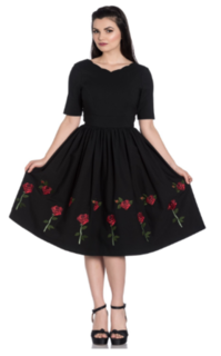 HELL BUNNY Rosa Rosa Black Dress
