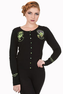 BANNED APPAREL Frankenstein And Bride Black Cardigan Last One Size 10