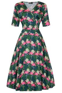 LADY VINTAGE Estella Dress Flamingo Last One Size 16