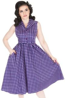 LADY VINTAGE Annie Flared Dress Gumdrop Gingham