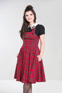 HELL BUNNY Irvine Pinafore Dress Red