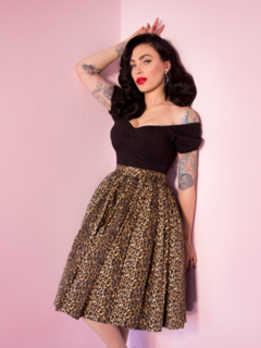 VIXEN SWING SKIRT IN WILD LEOPARD PRINT - VIXEN BY MICHELINE PITT