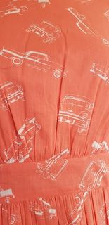 EMILY AND FIN Lucy Coral Vintage Cars A Line Day Dress Last One Size 14