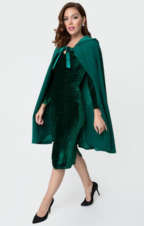 UNIQUE VINATGE 1940s Style Emerald Green Stevie Hooded Cape Coat