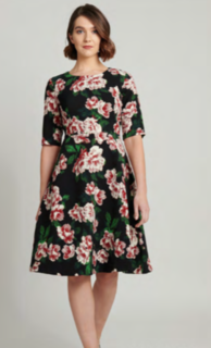 5PM Diana Floral Dress Wine Black