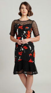 5PM Susanna Dress Black and Salmon Floral