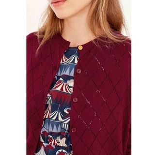 EMILY AND FIN Tess Pointelle Cardigan Bordeaux Last One Size 16