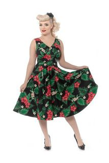 REBEL LOVE CLOTHING Mai Tai Dress in Green and Pink Floral