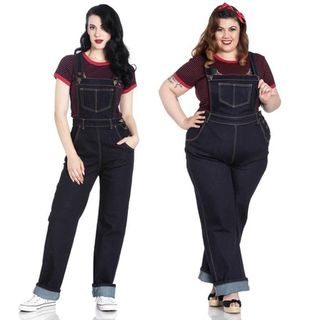 HELL BUNNY Elly May Dungarees Navy Denim