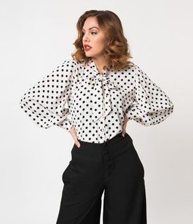 UNIQUE VINTAGE Gwen Blouse White and Black Polka Dot Crepe