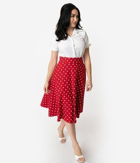 UNIQUE VINTAGE Retro Style Red & White Polka Dot High Waist Vivien Swing Skirt