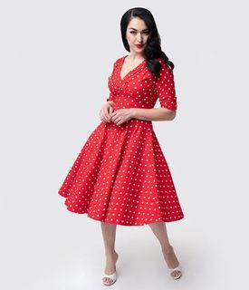 UNIQUE VINTAGE 1950s Red & White Dot Delores Swing Dress with Sleeves