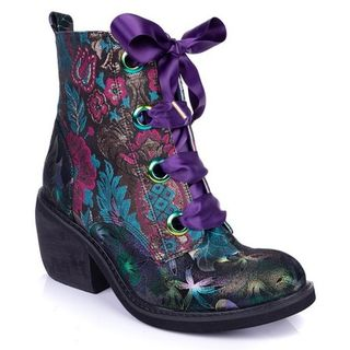 IRREGULAR CHOICE Quick Getaway Boots Purple Ribbon Floral