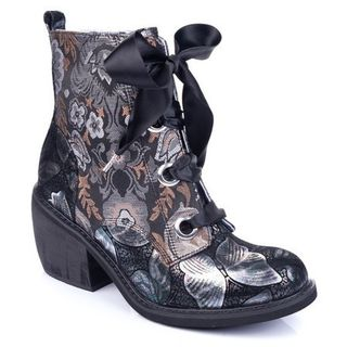 IRREGULAR CHOICE Quick Getaway Boots Black Floral