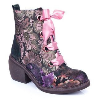 IRREGULAR CHOICE Quick Getaway Boots Coffee Floral
